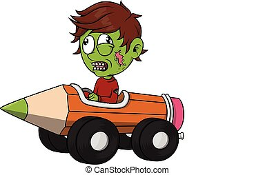 Zombie boy playing pencil car