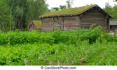 """""""farm with beautiful norwagian village green grass rooftop,..."""