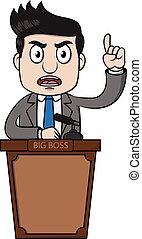 Buisness man angry on podium