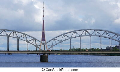 """riga view with bridge over river, latvia"""