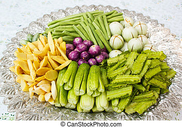 Vegetable on a tray - Vegetable on a tray, style thai food