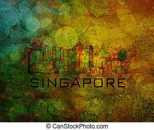Singapore City Skyline on Grunge Background Illustration