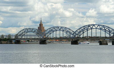 quot;riga view with bridge over river, latviaquot; - riga...