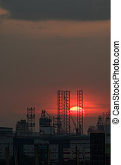 Sunset over industrial area - Singapore