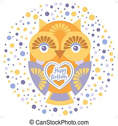 happy birthday, Funny colorful owl on white background card template. Vector