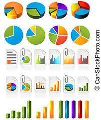 Pie charts  - Three-dimensional pie charts and file icons