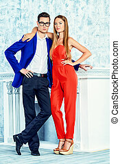 beautiful couple - Gorgeous couple of young people stand in...