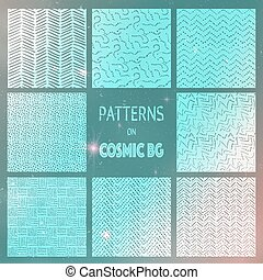 Abstract Drawn Seamless Patterns on Cosmic Background - Set...