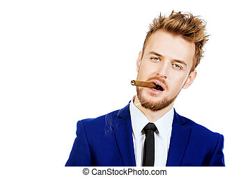 humorous - Funny stylish man smoking a cigar Mens beauty,...