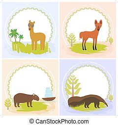 lama, Maned wolf, ant-eater, Capybara, set of cards design  with funny animals, template banner for your text with round frame. Vector