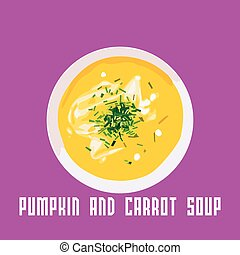 vector pumpkin and carrot soup in a white plate. Vector...
