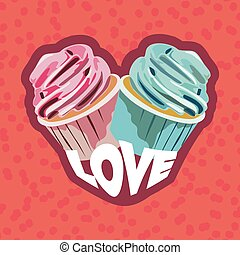 two colorful cupcakes