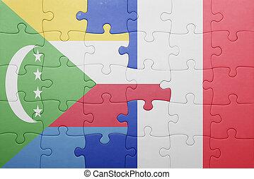 Puzzle, drapeau, Comores,  national,  france