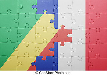 puzzle with the national flag of republic congo and france...