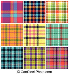 Set of plaid seamless patterns. Bri