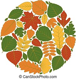 Circle pattern made of tree leaves. Twenty different icons....