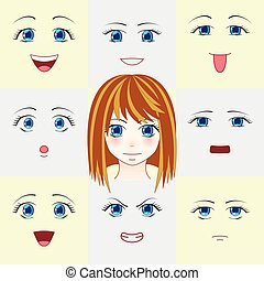 Set of faces in manga style. Cute anime eyes and mouths....