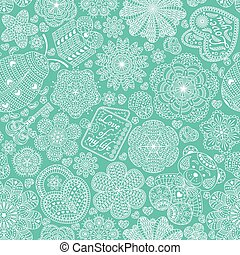 Seamless pattern with flowers, hearts, cards, bear, gift,...