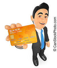 3D Businessman with a credit card