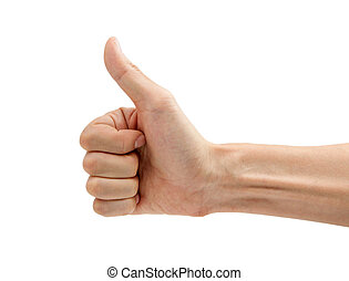Man hand with thumb up isolated on white background