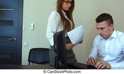 Businesswoman in office gets reprimand from her boss,...