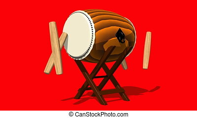 Loopable Asian Drum And Sticks On Red Background.Loop able...