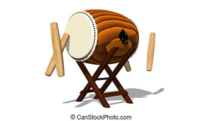 Loopable Asian Drum And Sticks On White Background.Loop able...