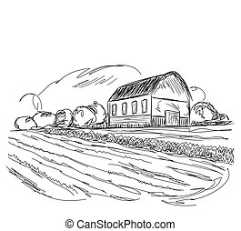 Landscape with agrarian fields and village house. - Hand...