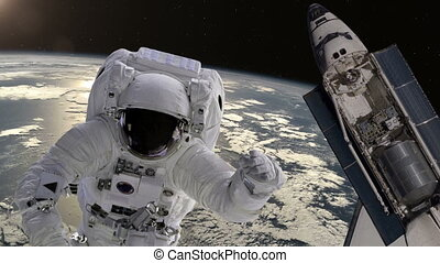 Astronaut and shuttle above the Earth Elements of this video...