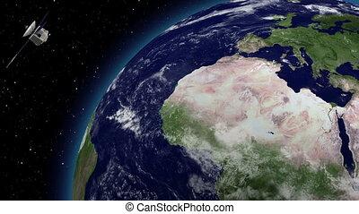 Satellite over earths