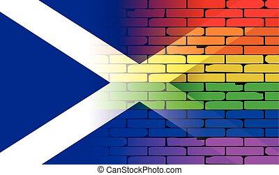 Wand, regenbogen, Fahne, schottland,  gay