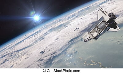 The Space Shuttle above the Earth - The Space Shuttle above...