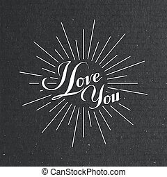 I love you retro label - vector typographic illustration of...
