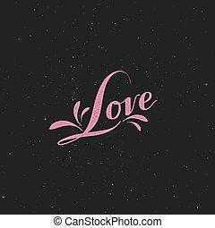 Love retro label - vector typographic illustration of...