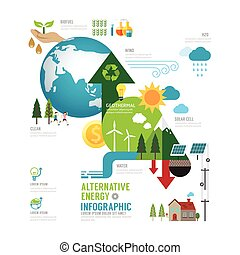 Infographic eco energy of the world concept with icons