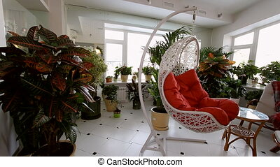 Red Rocking Chair in Luxury Apartment Interior.