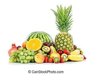 Fruit on a white background - Ripe fresh fruit Wholesome...