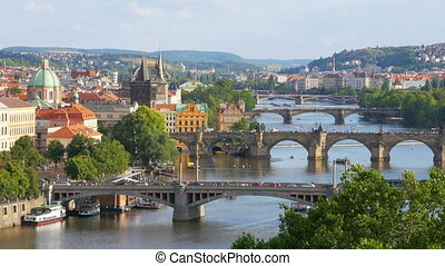"""prague view, bridges over danube river, czech republic, 4k"""