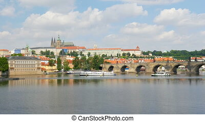 quot;prague view around charles bridge and castle, czech...