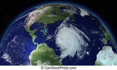 Big hurricane around North America. Satellite view. Elements...