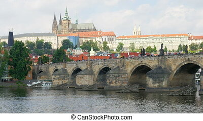 """prague view around charles bridge and castle, czech..."
