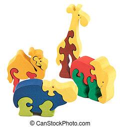 Farbe, hölzern, tier, Spielzeuge