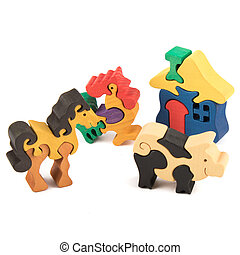 wooden toy animals puzzles - color wooden creative animal...