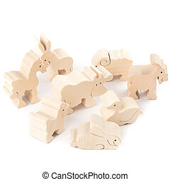 Wooden toy animals - Many wooden creative toy animals on...