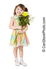 Smiling happy girl with big bouquet of asters