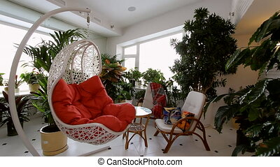 Red Rocking Chair in Luxury Apartment Interior Showcase of...