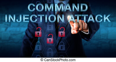 Attacker Touching COMMAND INJECTION ATTACK - Cyber attacker...
