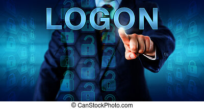 Business Client Pressing LOGON - Business client pressing...