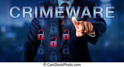 Perpetrator Touching CRIMEWARE Onscreen - Perpetrator is...
