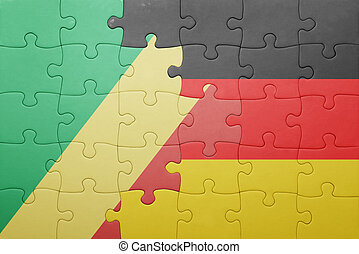 puzzle with the national flag of germany and republic congo...